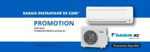 Climatisation avec thermopompe murale rabais 300$